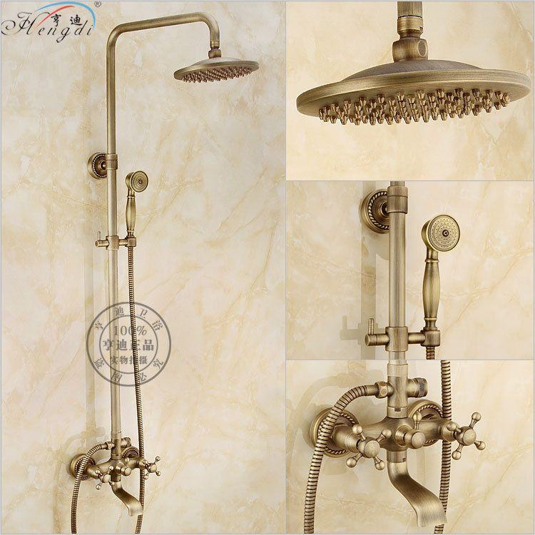 Bathroom Retro antique copper Brass Shower Set Wall Mounted Phone ...