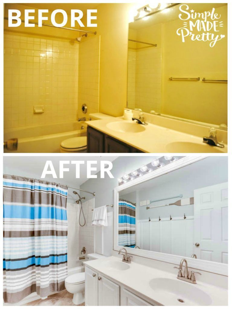 Photo of This bathroom DIY before and after remodel was on a budget and almost everything …