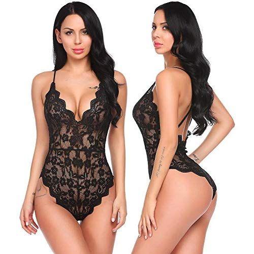 46b976ec64a Aranmei Women Sexy Teddy Lingerie One Piece Lace Babydoll Halter Bodysuit (Black
