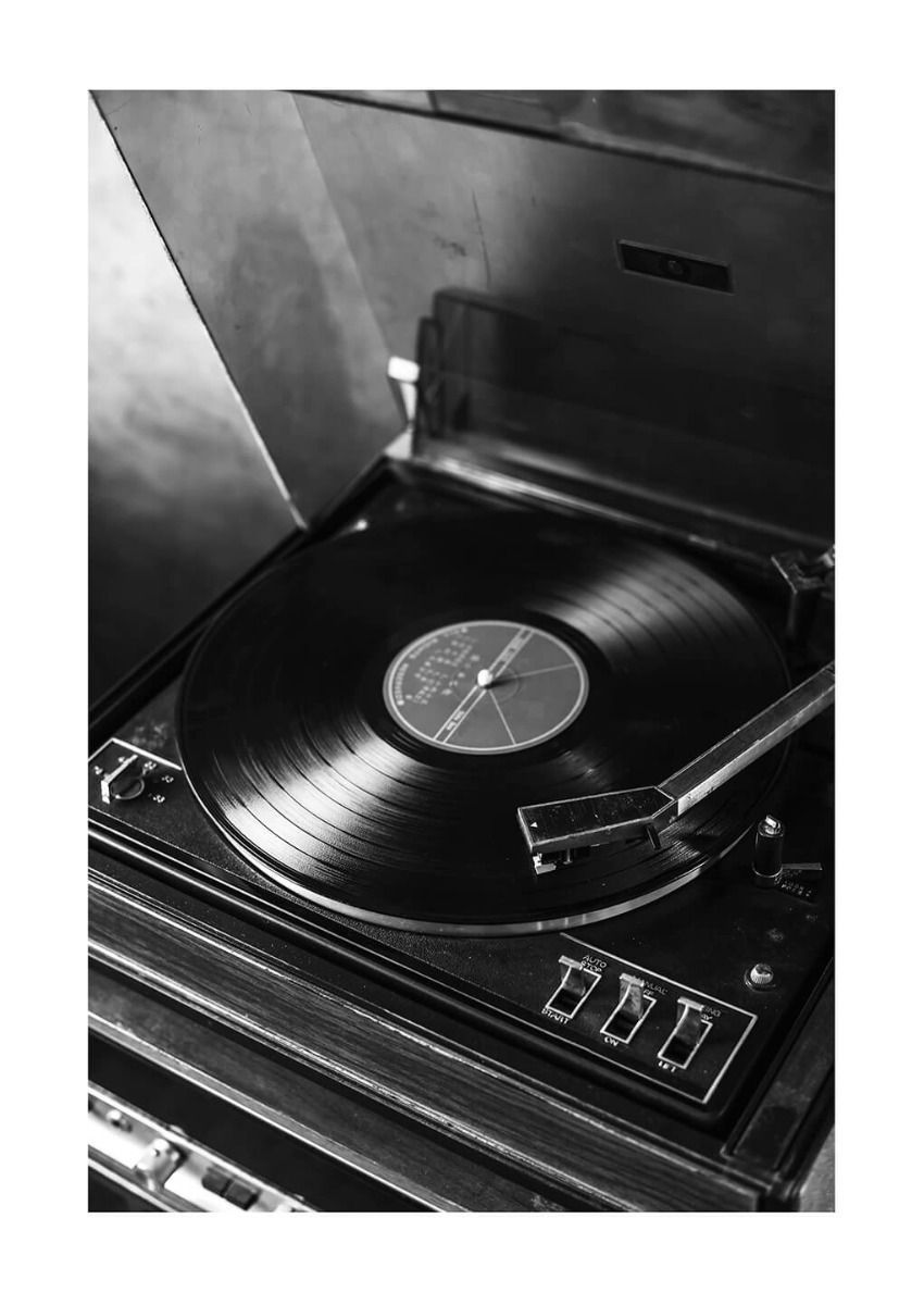 Vintage Record Player Poster In 2020 Black And White Picture Wall Black And White Aesthetic Black And White Photo Wall