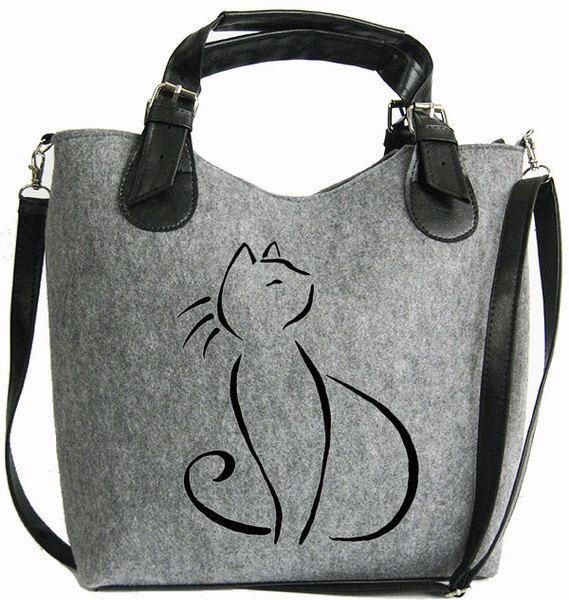 BAG FOR GIFT, Women felt bag, Felt totebag, Cat bag, Felt