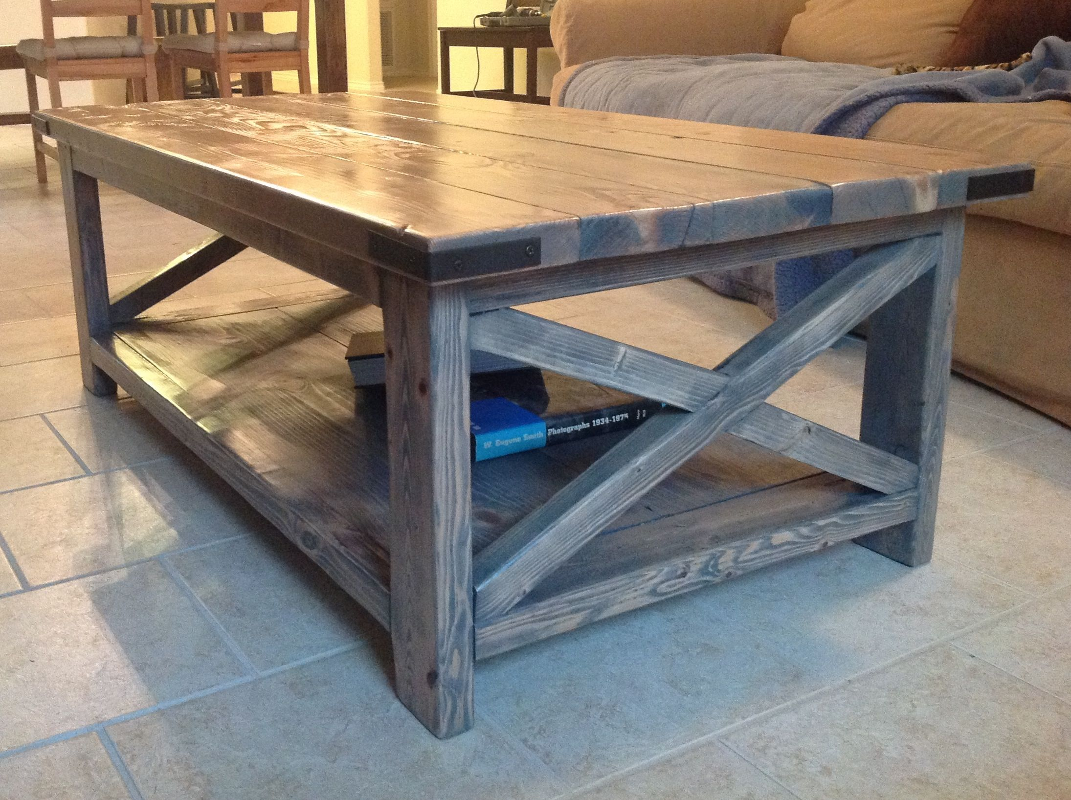 rustic x coffee table with minwax classic gray stain | do it