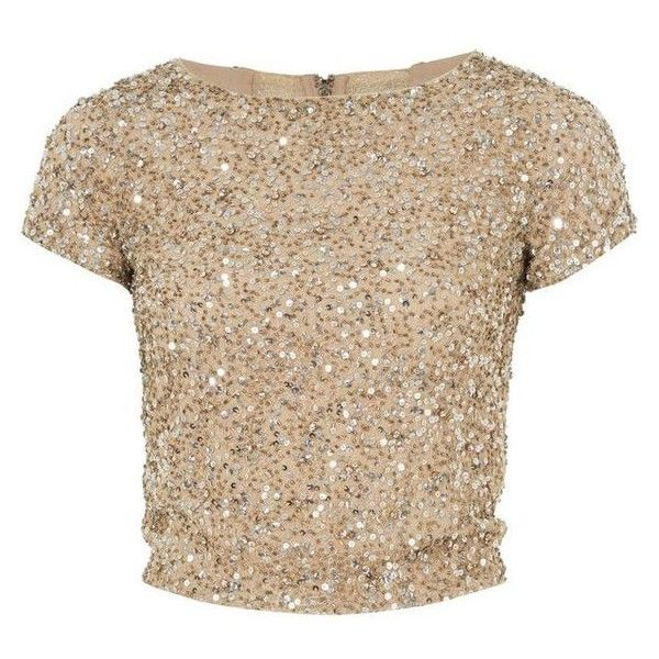 b60636f827dc7 Alice and Olivia Gold Embellished Kelli Crop Top ❤ liked on Polyvore  featuring tops