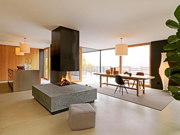 Wohnhaus; Architektenhaus; Südtirol; Bergmeister Wolf; Küche, Wohn - wohnzimmer mit essbereich ideen