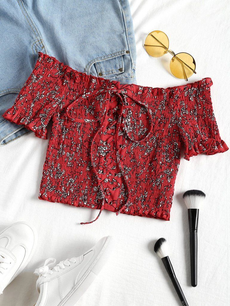 93d76ff6c Material  Cotton Polyester Spandex   Shirt Length  Short   Sleeve Length   Short   Collar  Off The Shoulder   Pattern Type  Floral   Embellishment   Lace up ...