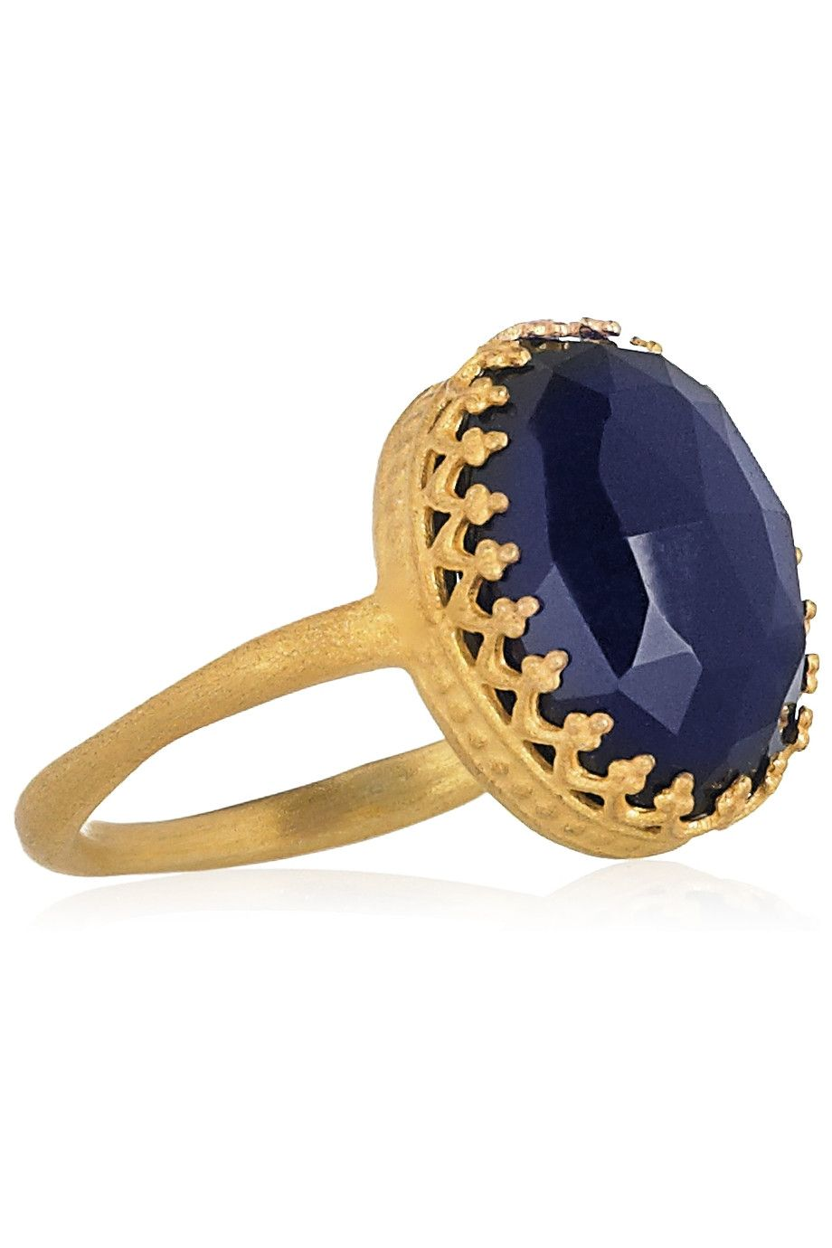 Kevia 22-carat gold-plated ring with navy stone | Wish List ...