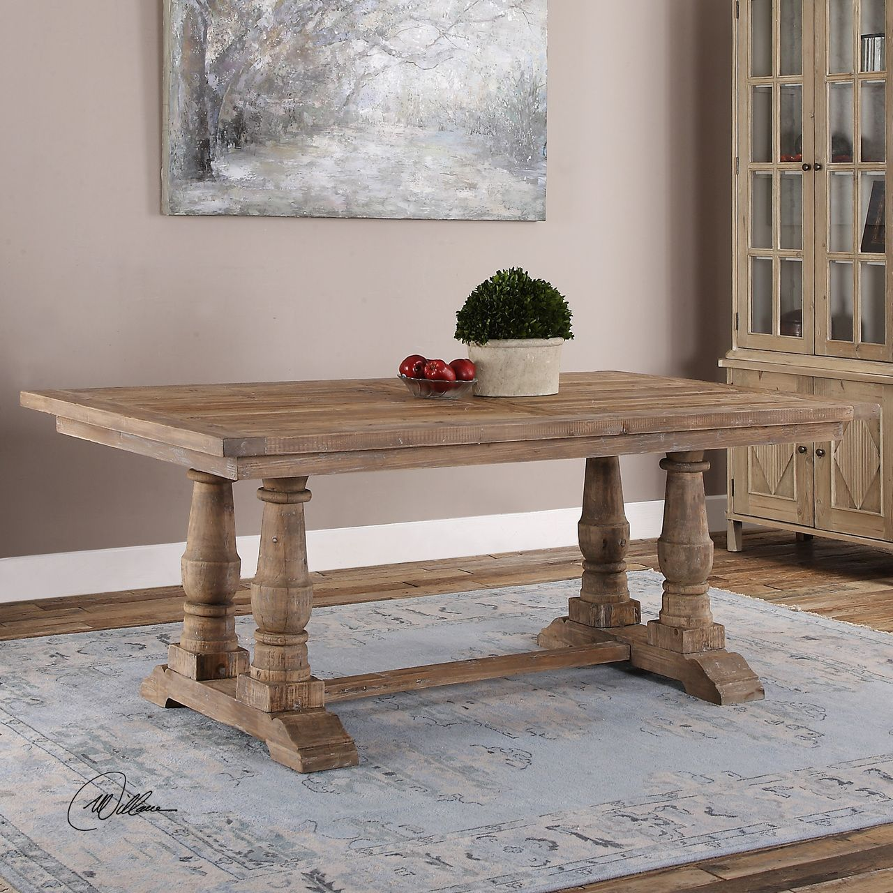 Salvaged Wood Double Trestle Dining Table Zin Home Kitchen - Double trestle dining table