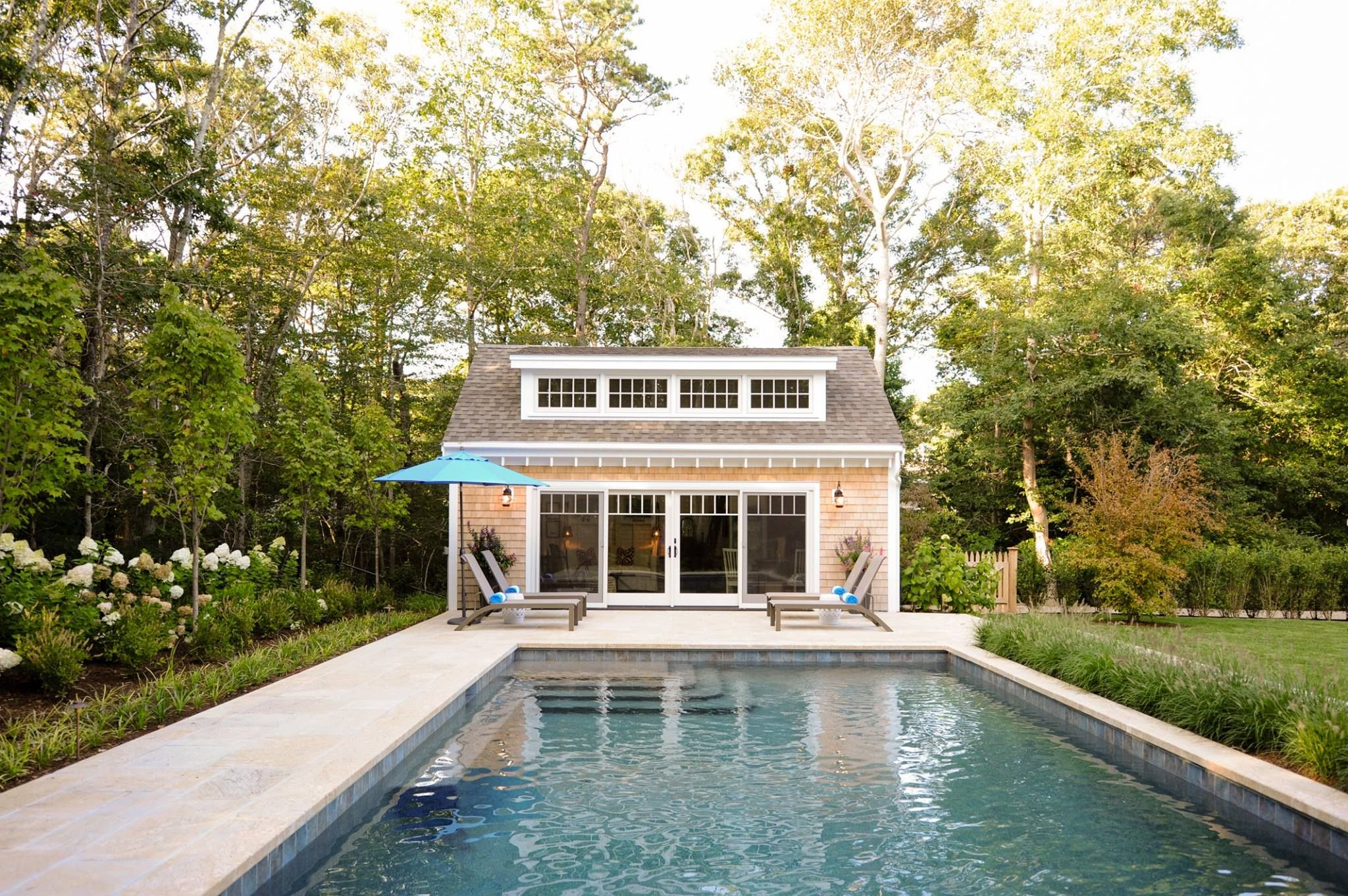 Cape cod pool house  Shed dormer with andersen windows and