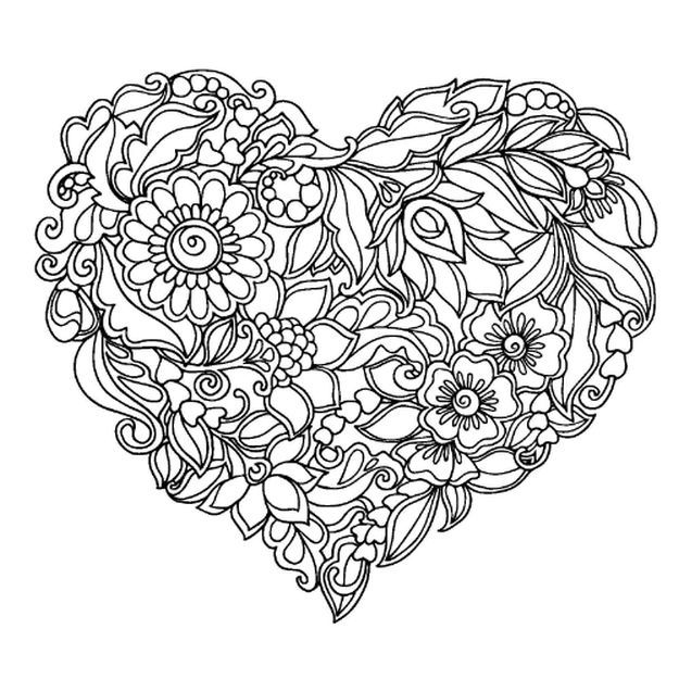 abstract heart coloring pages for grown ups | Drawing ...
