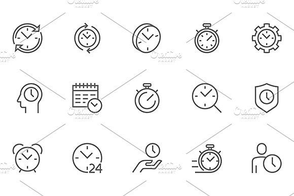Set of Time Management Related Vector Line Icons. 48x48