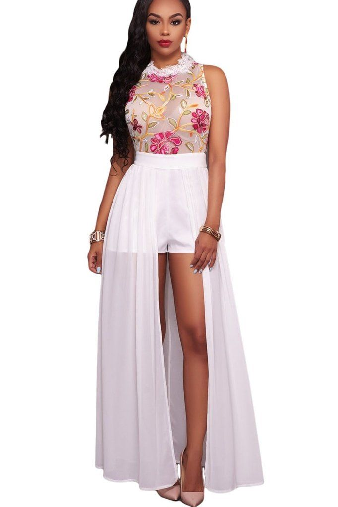 700b68d206a White Sheer Floral Embroidery Chiffon Overlay Maxi Romper Dress ...