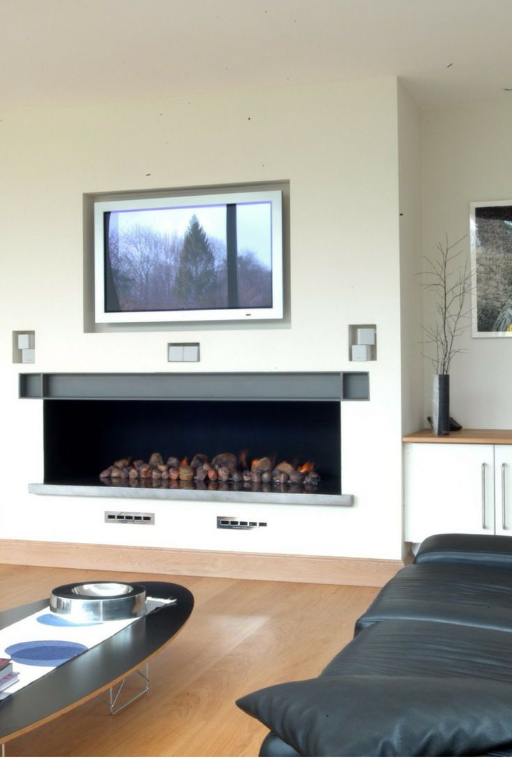 simple hole in the wall style fireplace with centred tv on hole in the wall id=81626