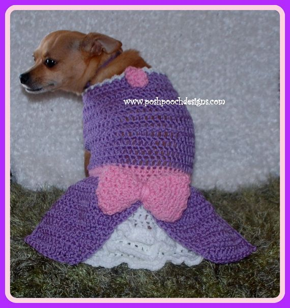 Instant Download Crochet Pattern Sofia Dog Dress Small Dog