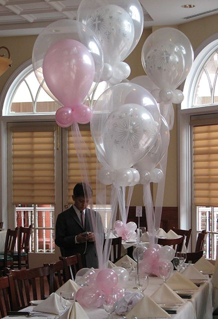 Cross balloons in balloons centerpiece for communion or for Balloon decoration ideas for christening