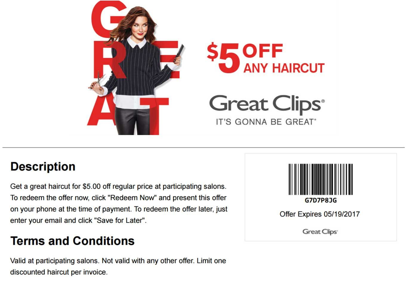 Pinned April 27th $5 off a haircut at GreatClips coupon