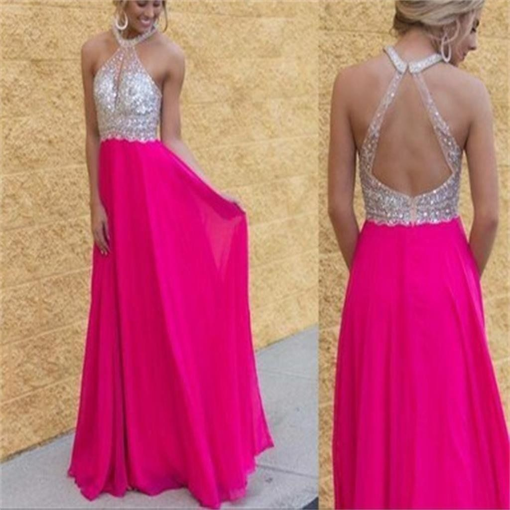 Long High Neck Open Back Chiffon Hot Pink Shining Party Prom Dress ...