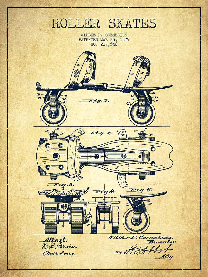 Roller Skate Patent Drawing From 1879 Vintage