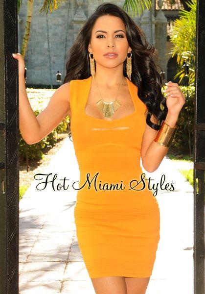 Tangerine Peep Hole Bandage Dress