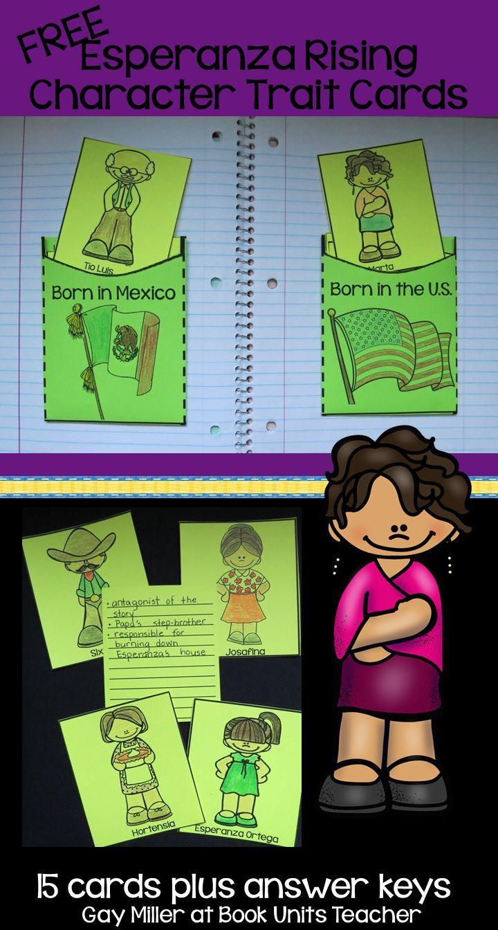 Esperanza Rising Character Trait Cards Grades 3 6 Esperanza