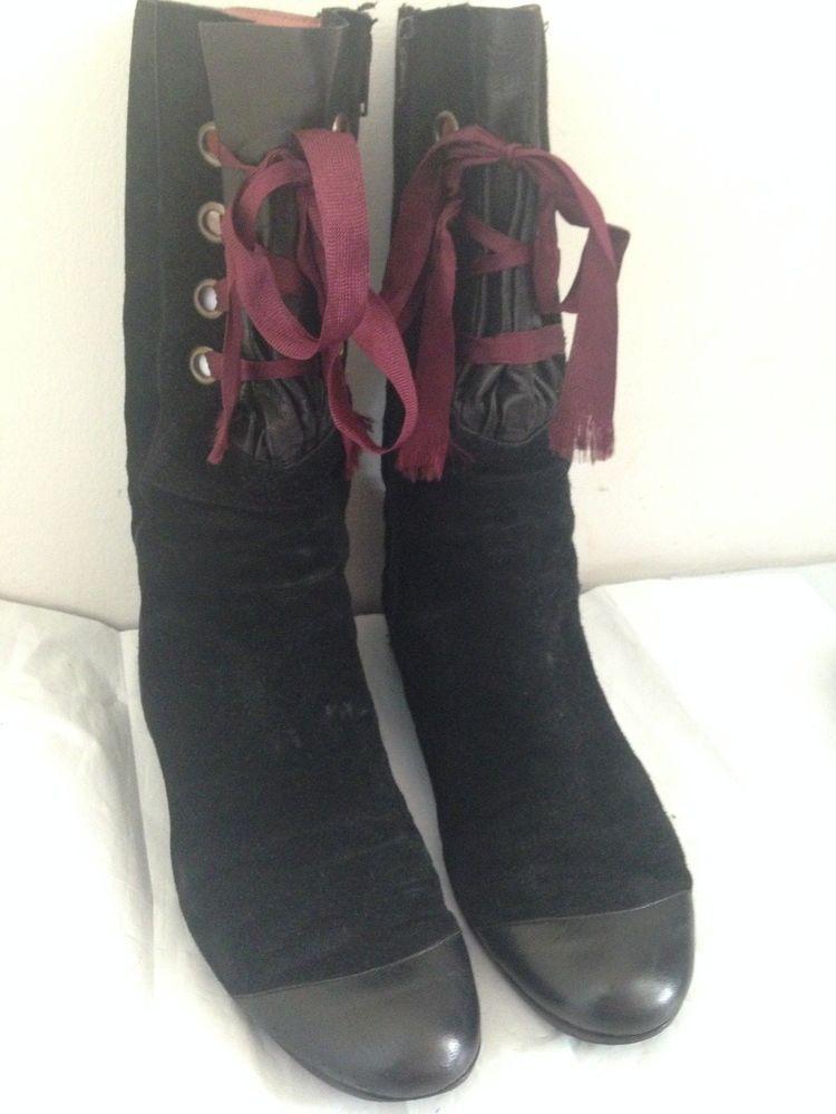 PETER KENT MID CALF BOOTS LACE UP CAP TOE BLACK LEATHER / SUEDE ZIPPER SIZE 9 M #PETERKENT #FashionMidCalf
