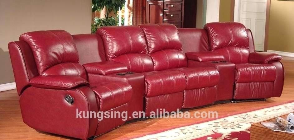 Red Leather Reclining Sofa With Images