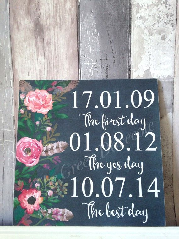 The Yes Day , First Day , Best Day , Important Dates Sign , Wedding Sign , Save The Date