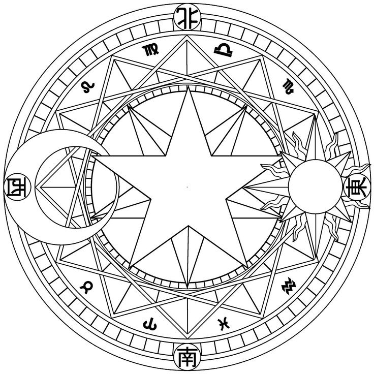 Magic Circle Symbols Magic Symbols Mandala Coloring Pages Magic Circle