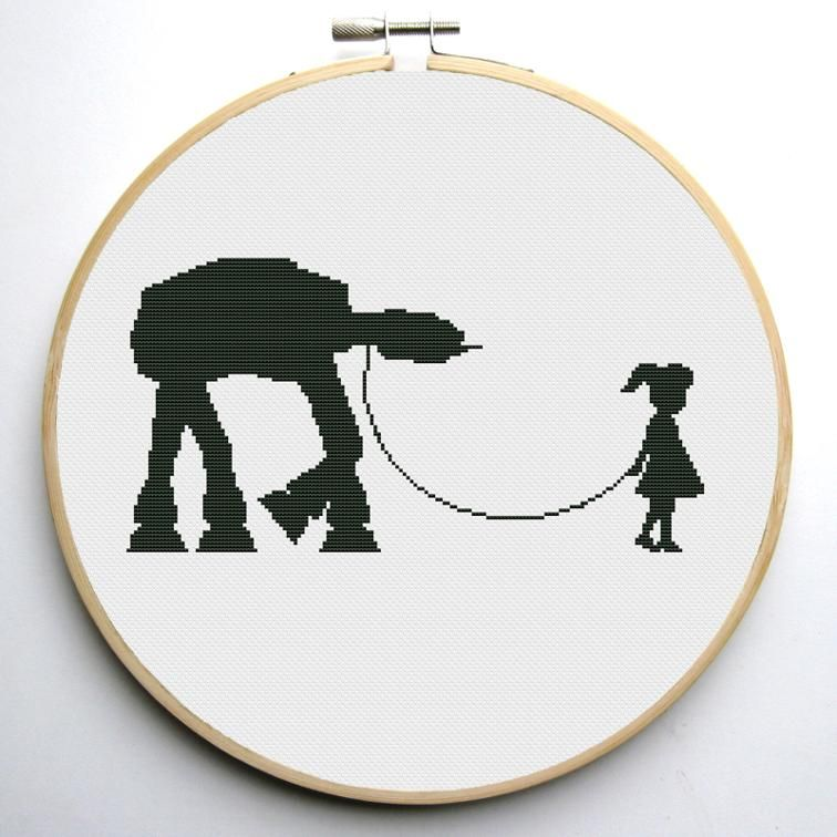 Girl and At-At Star Wars Cross Stitch Pattern