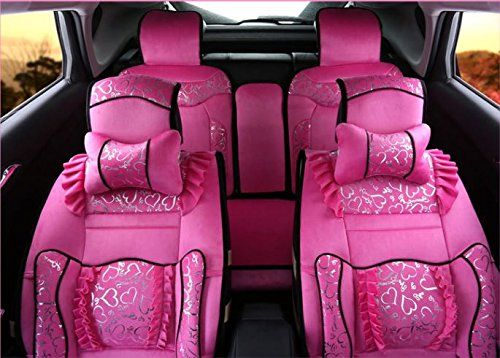 ANKIV Pink FULL SET Universal Fit 5 Seats Car Women Girls Luxury Royal  Princess Lace Flounce ec0a449eb