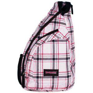 Pink Plaid Cross Body Sling Messenger Backpack / Outdoor Daypack ...