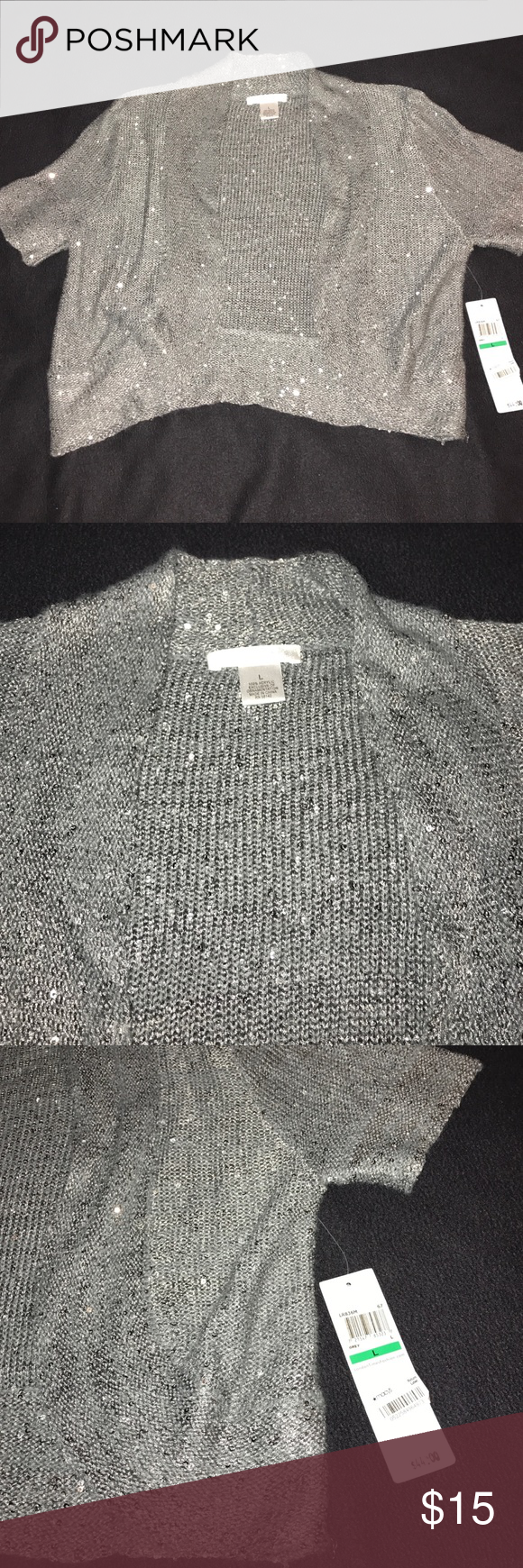 NWT London Times Sweater NWT | Silver sequin, Gray dress and Sequins