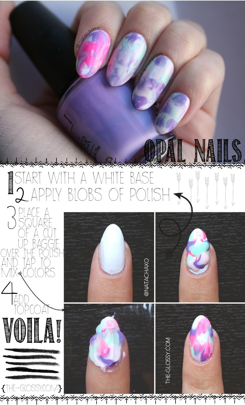 Opal/marble nail art how-to in four simple steps! Click through for ...