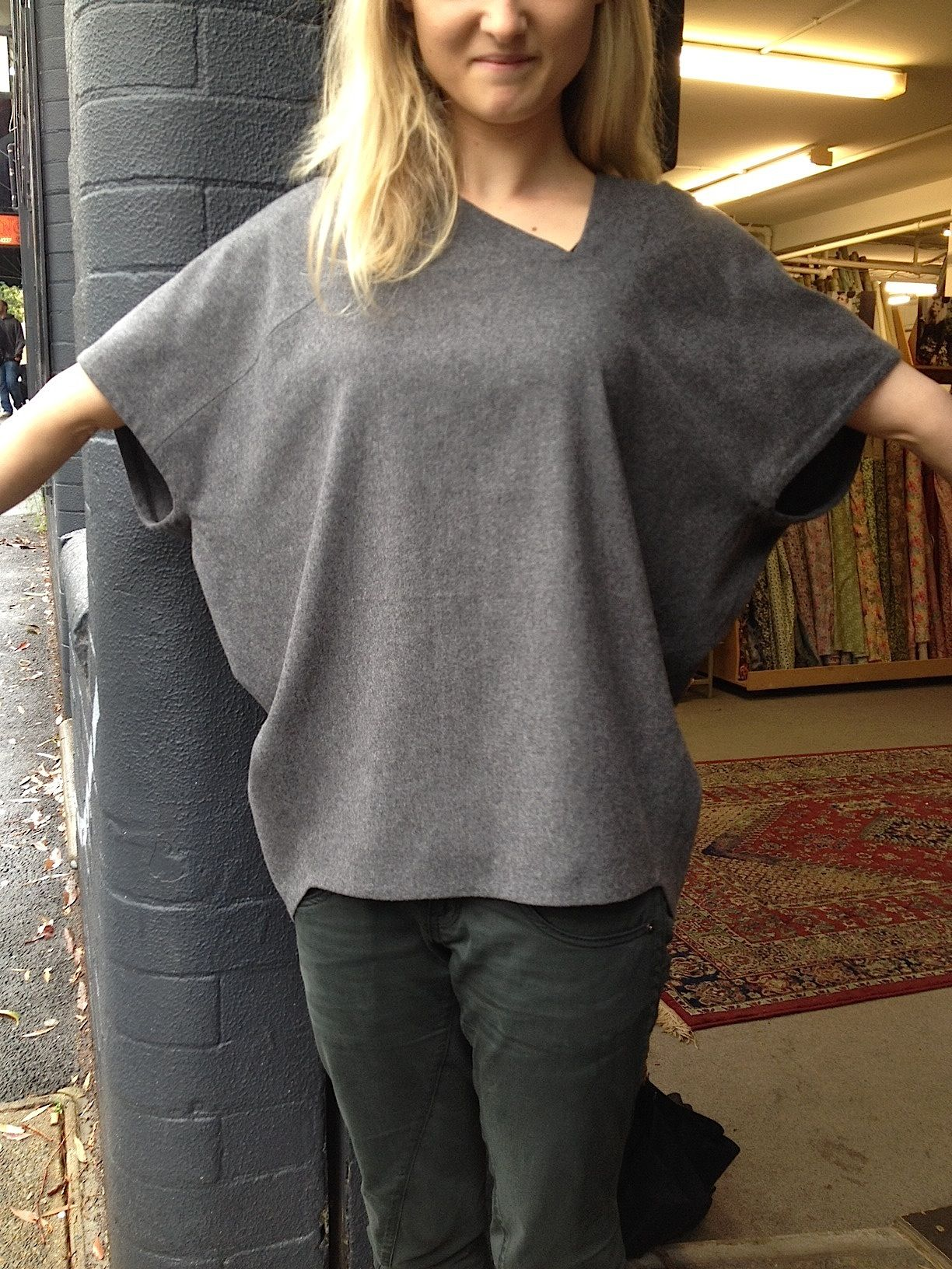 Soft Grey Uru Oversized Top