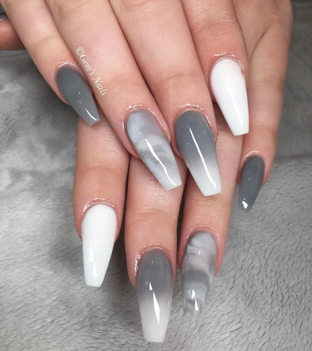 Gem S Nails On Instagram Grey White Nails Nailsofinstagram Acrylicnails Acrylicnaildesign Manchest White Acrylic Nails Gem Nails Best Acrylic Nails