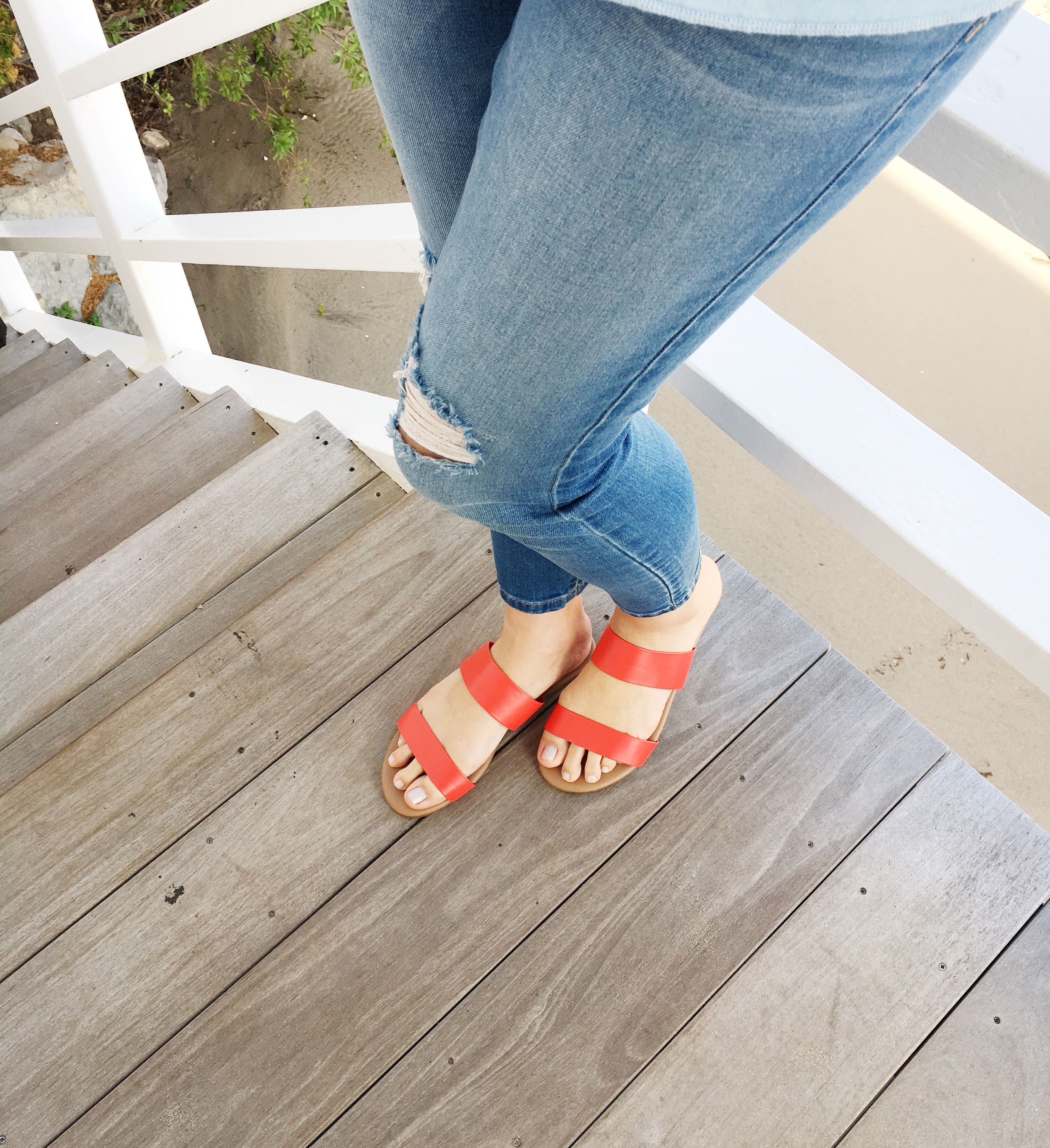 04ed7dfd906eb Lauren Conrad wearing a pair of LC Lauren Conrad for Kohl s Firefli Sandals  in Red