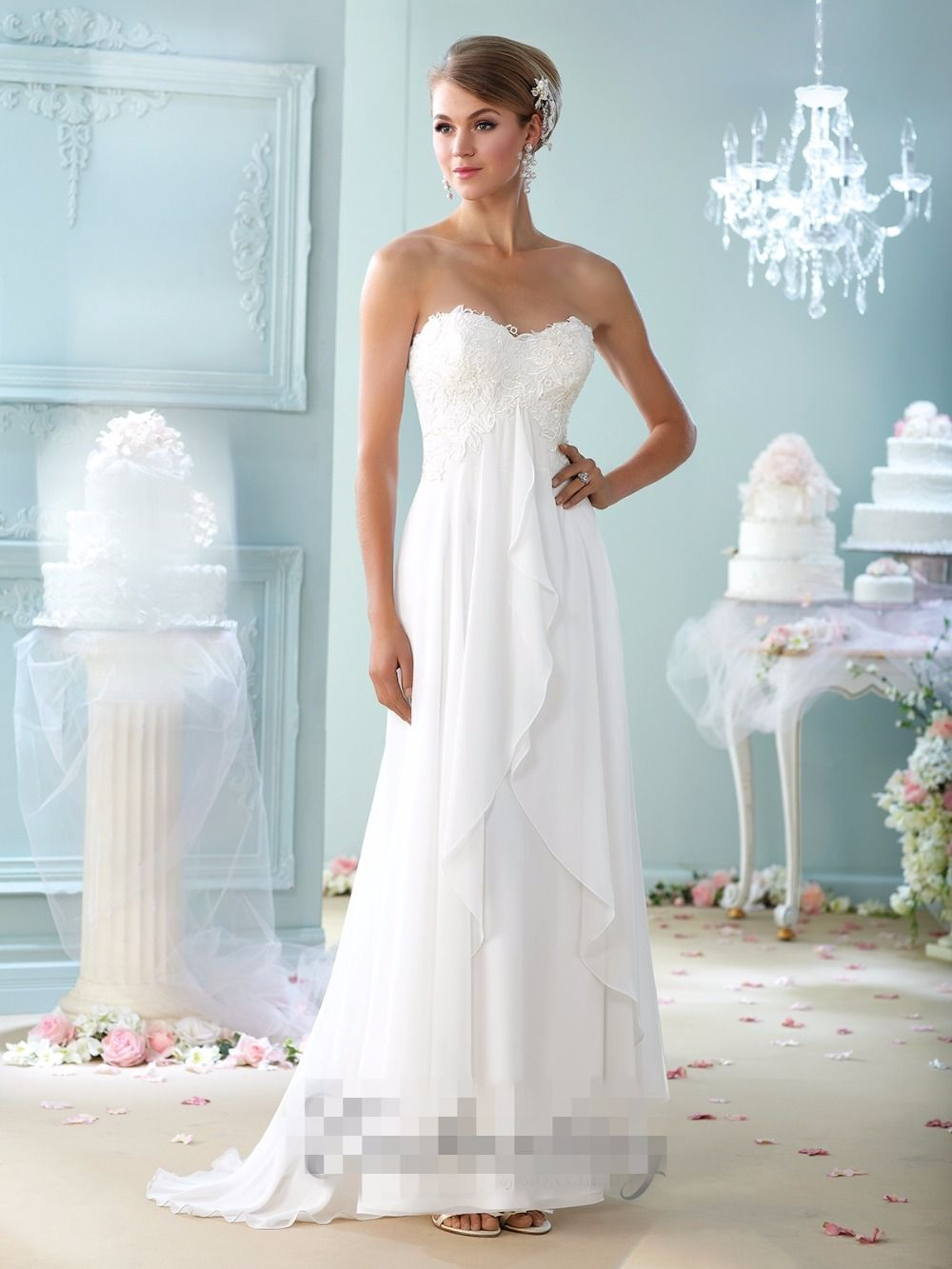 Click to Buy << Simple Lace Chiffon Maternity Wedding Dresses Empire ...