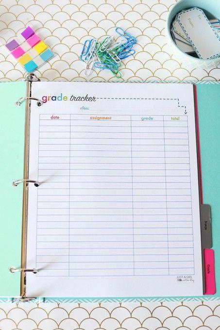 Printable Student Binder JustAGirlAndHerBlog c o l l e g e