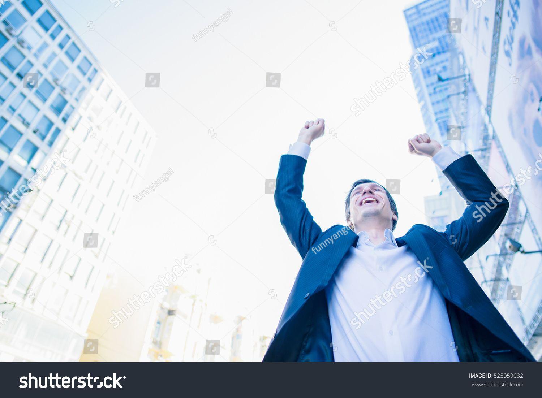 Business Man Success Businessman Winner Happy Win Triumph