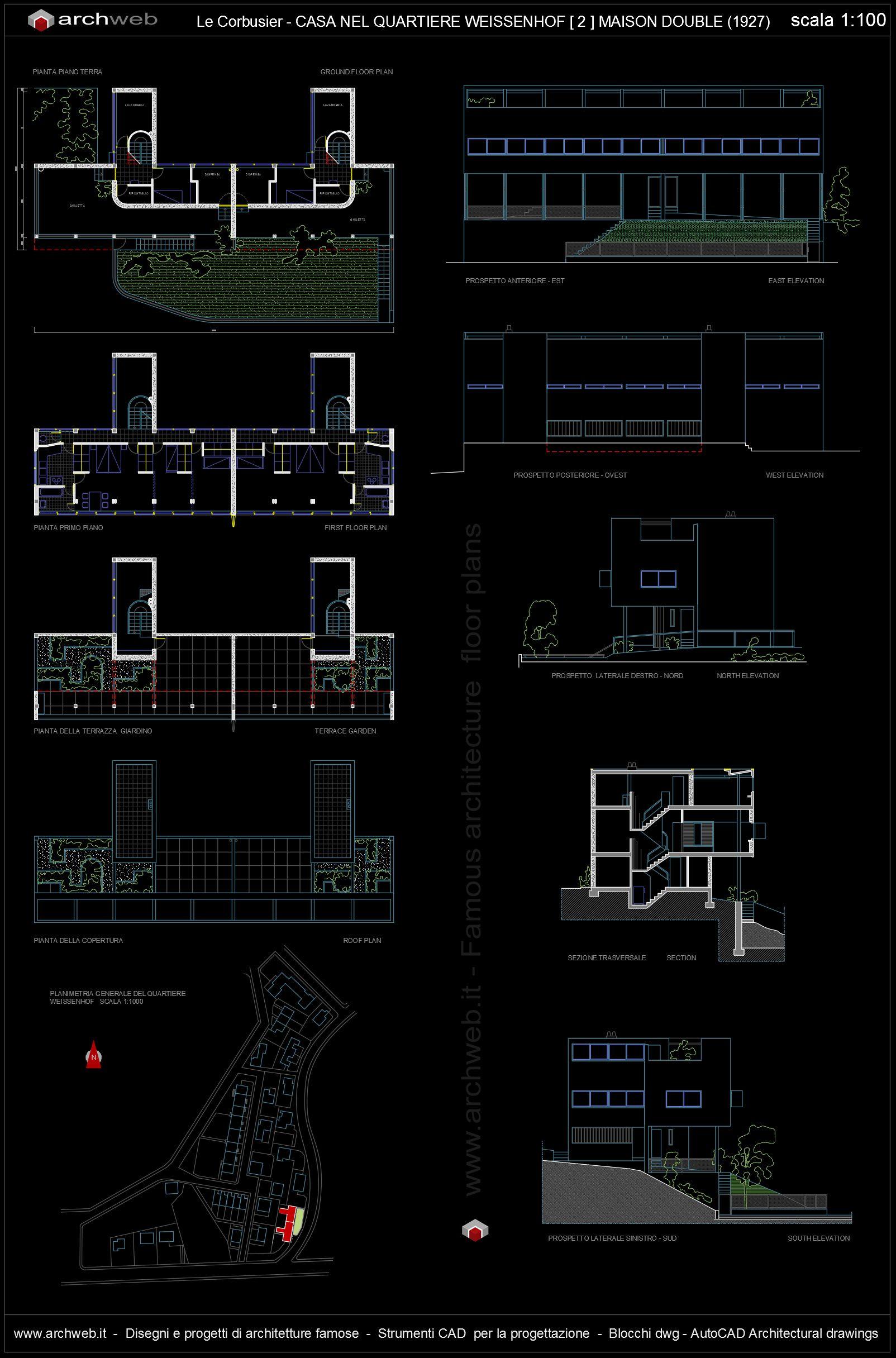 Citrohan House Nel Quartiere Weissenhof 2 1927 Le Corbusier  # Muebles Mies Van Der Rohe Autocad