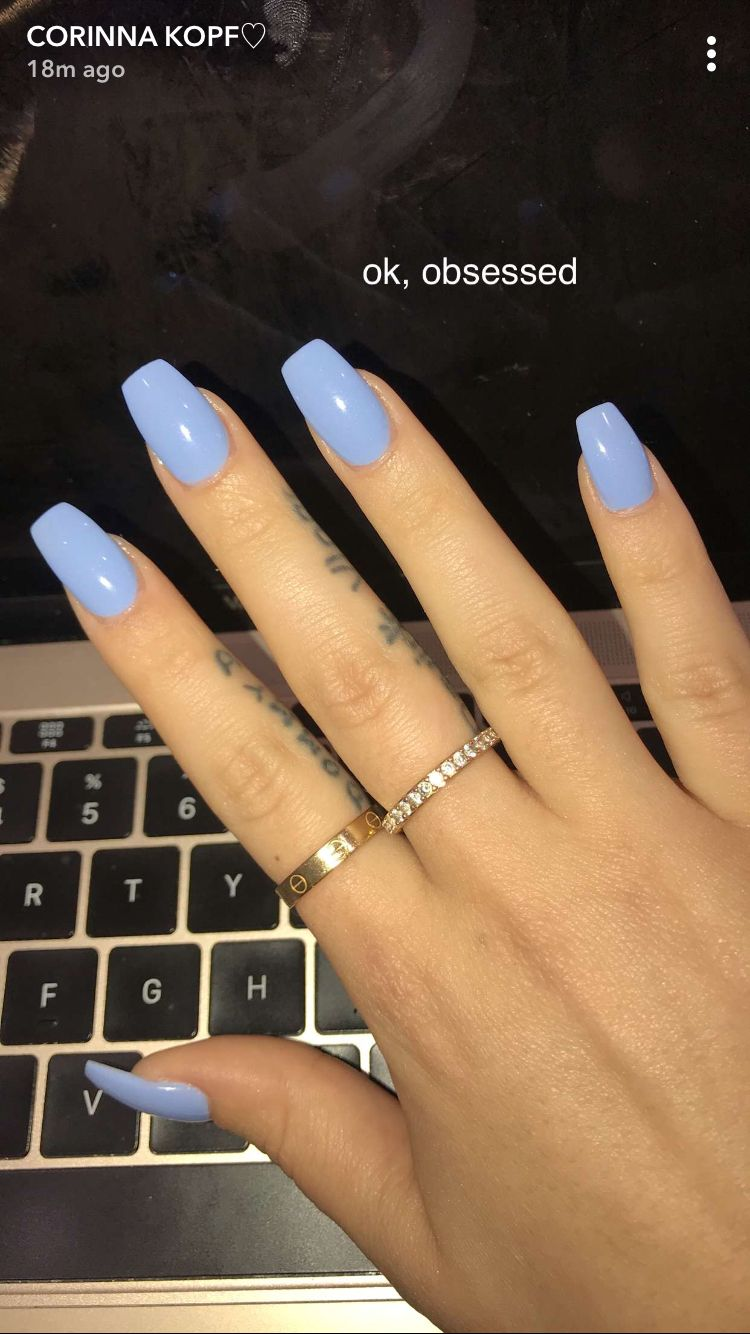 Baby Blue White Acrylic Nails Acrylic Nails Coffin Short Oval Nails Designs