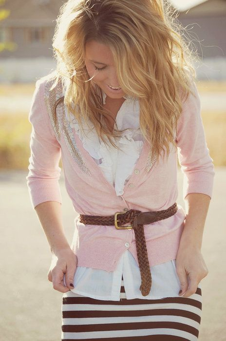 White Ruffled Button-Up Blouse with Pink Cardigan and Brown and White Striped Pencil Skirt