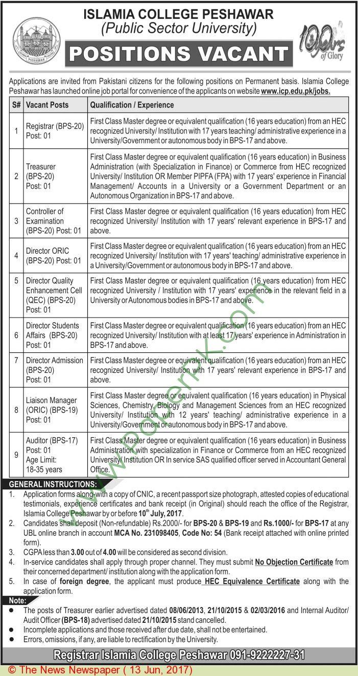 Islamia College Peshawar Jobs  Jobs In Pakistan