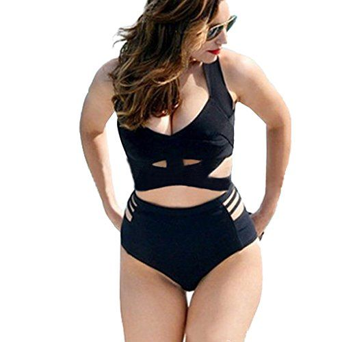 4072e753417 Lukitty Women s 2PCS Plus Size High Waist Push Up Padded Strappy Swimsuits  Bikini     You can get more details by clicking on the image.