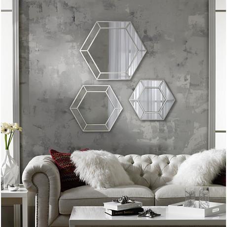 Wellford Silver 3 Piece Hexagonal Mirror Set Mirror Set Mirror Home Decor