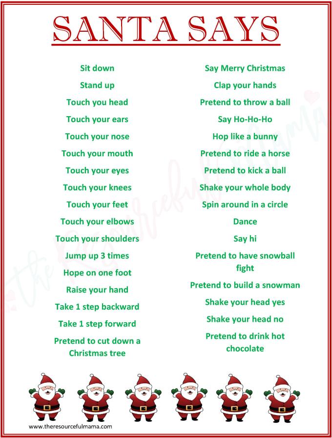 Santa Says Game for Christmas Parties {FREE PRINTABLE}