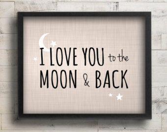 I Love You to the Moon & Back Nursery Decor - Celestial Stars Blue Nursery Art - Baby Boy Nursery Wall Art - Guess How Much I Love You Quote