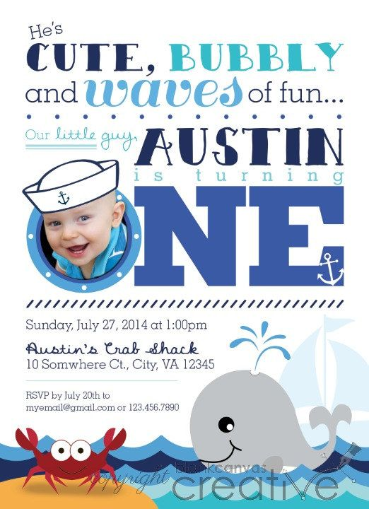 Cute Nautical Crab Whale First Birthday Invitation DIY