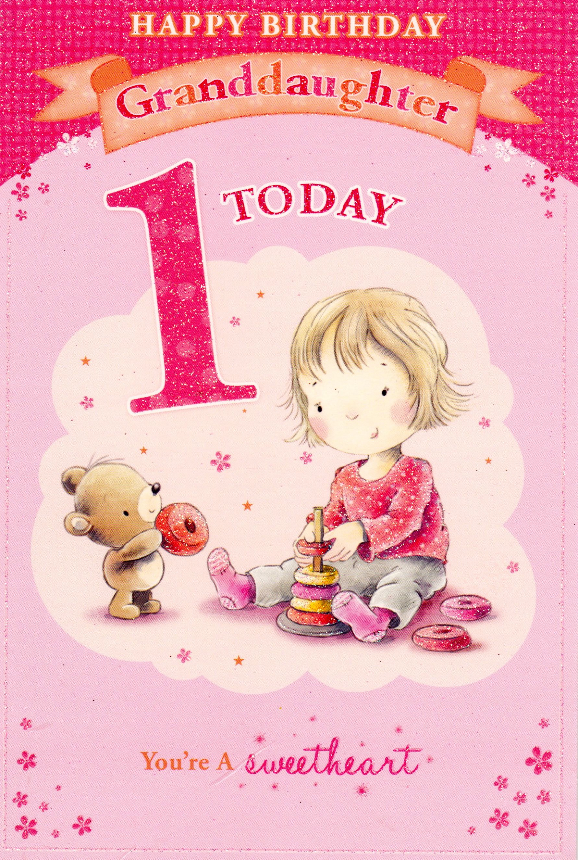 Happy Birthday Granddaughter Google Search 1st Birthday Cards Birthday Greetings 1st Birthday