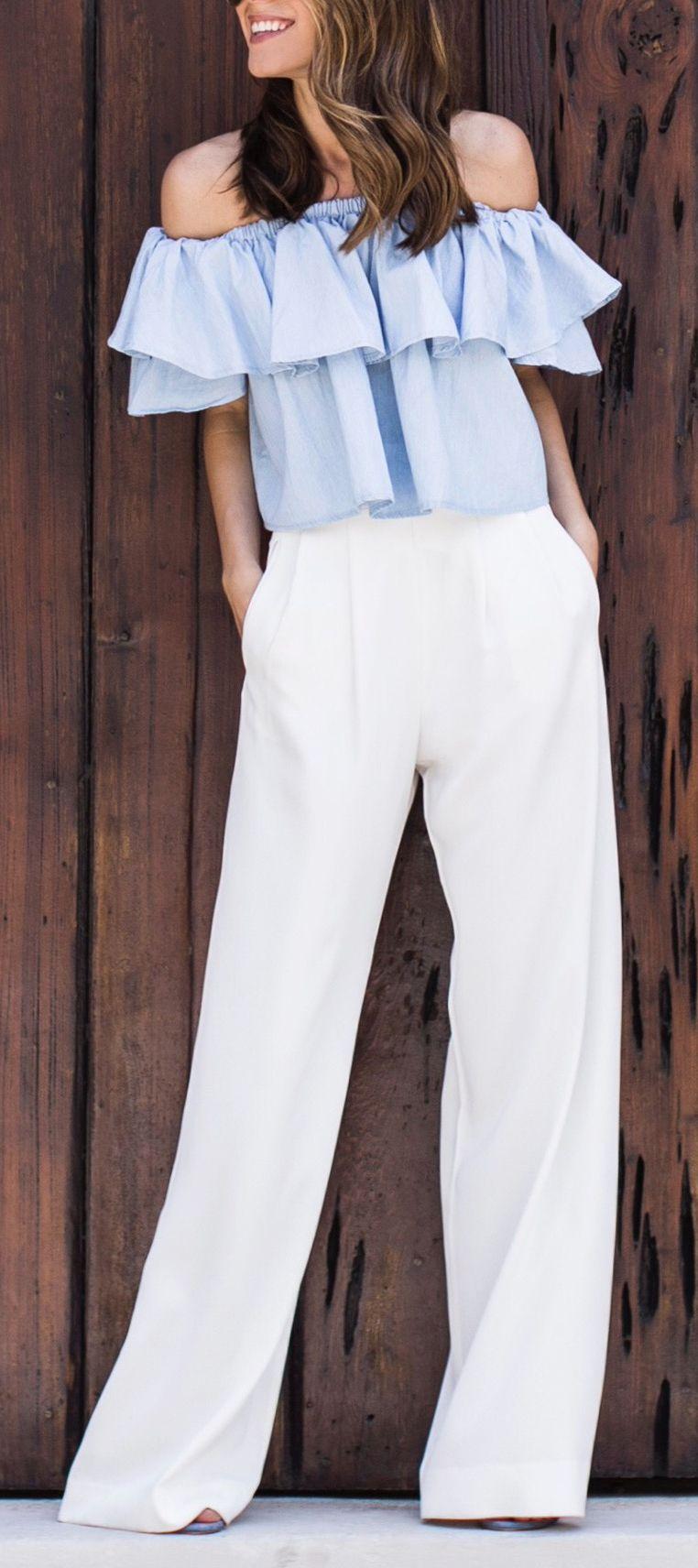 bc5dfcc7a6 Off shoulder top   wide leg pants