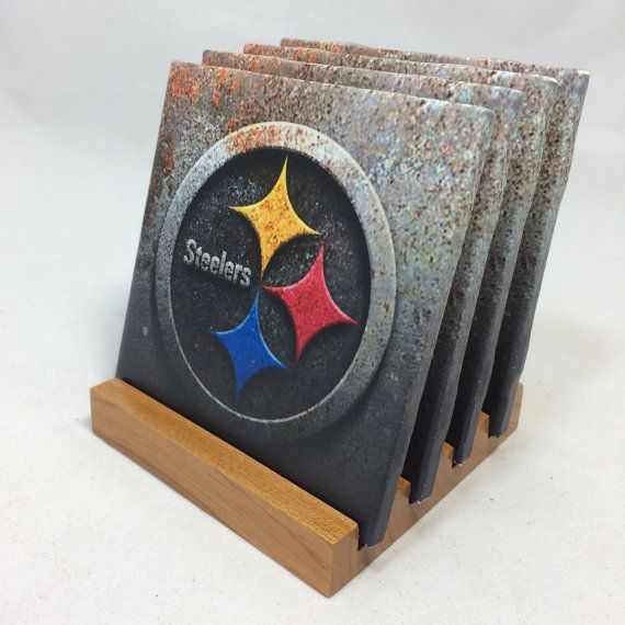 HANDMADE Pittsburg Steelers Drink Coasters  Set by TheCoasterAttic